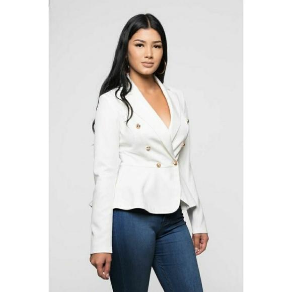 ultrachicfashion.com Jackets & Blazers - Ivory White Peplum Blazer